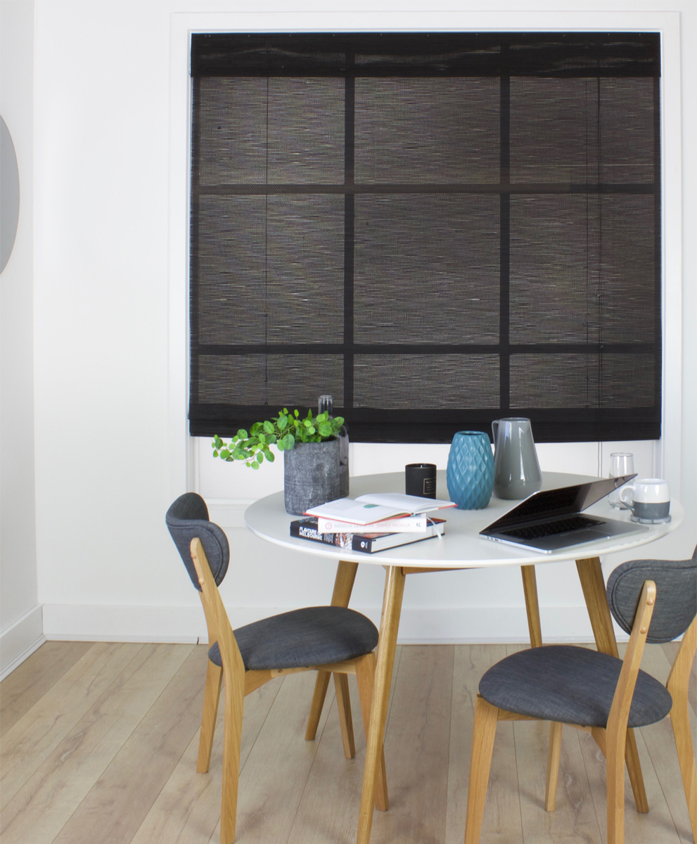 Matchstick Woven Roman Blind Black Smart Home Products