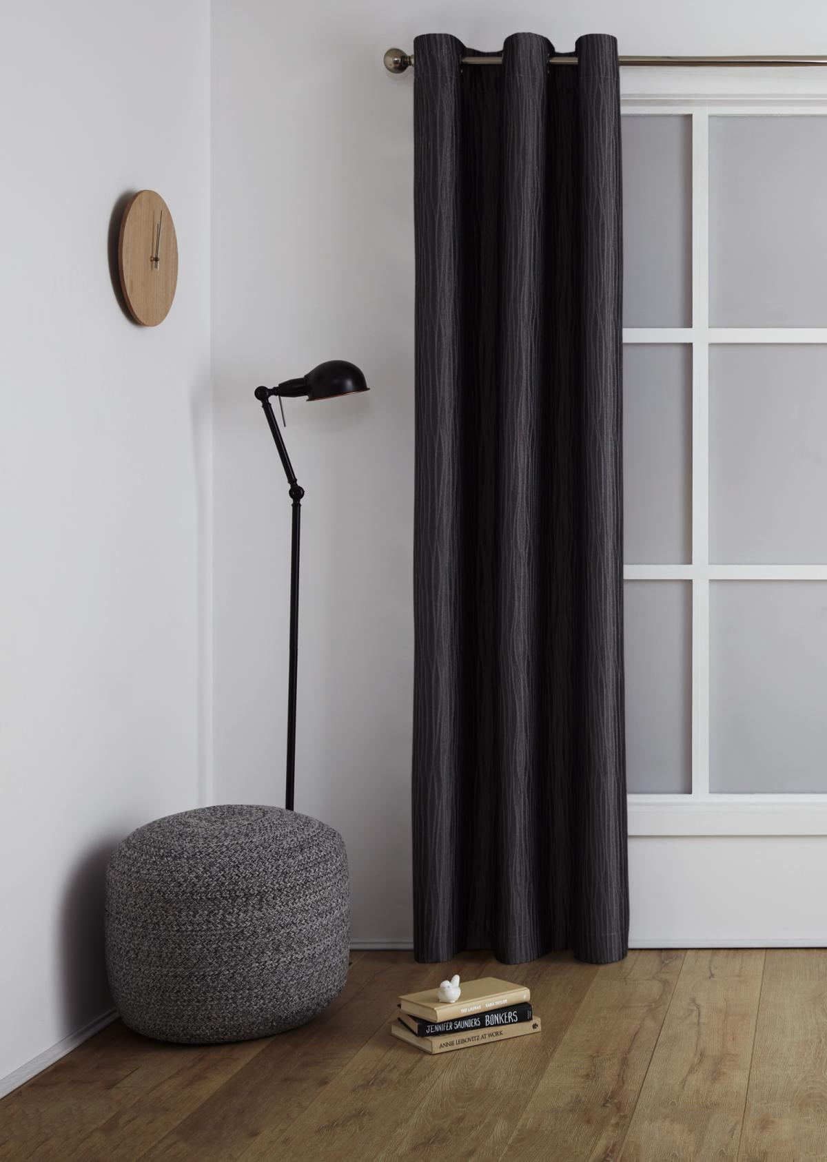 <b>Room Darkening Eyelet Curtain</p><p></b>Surf Charcoal
