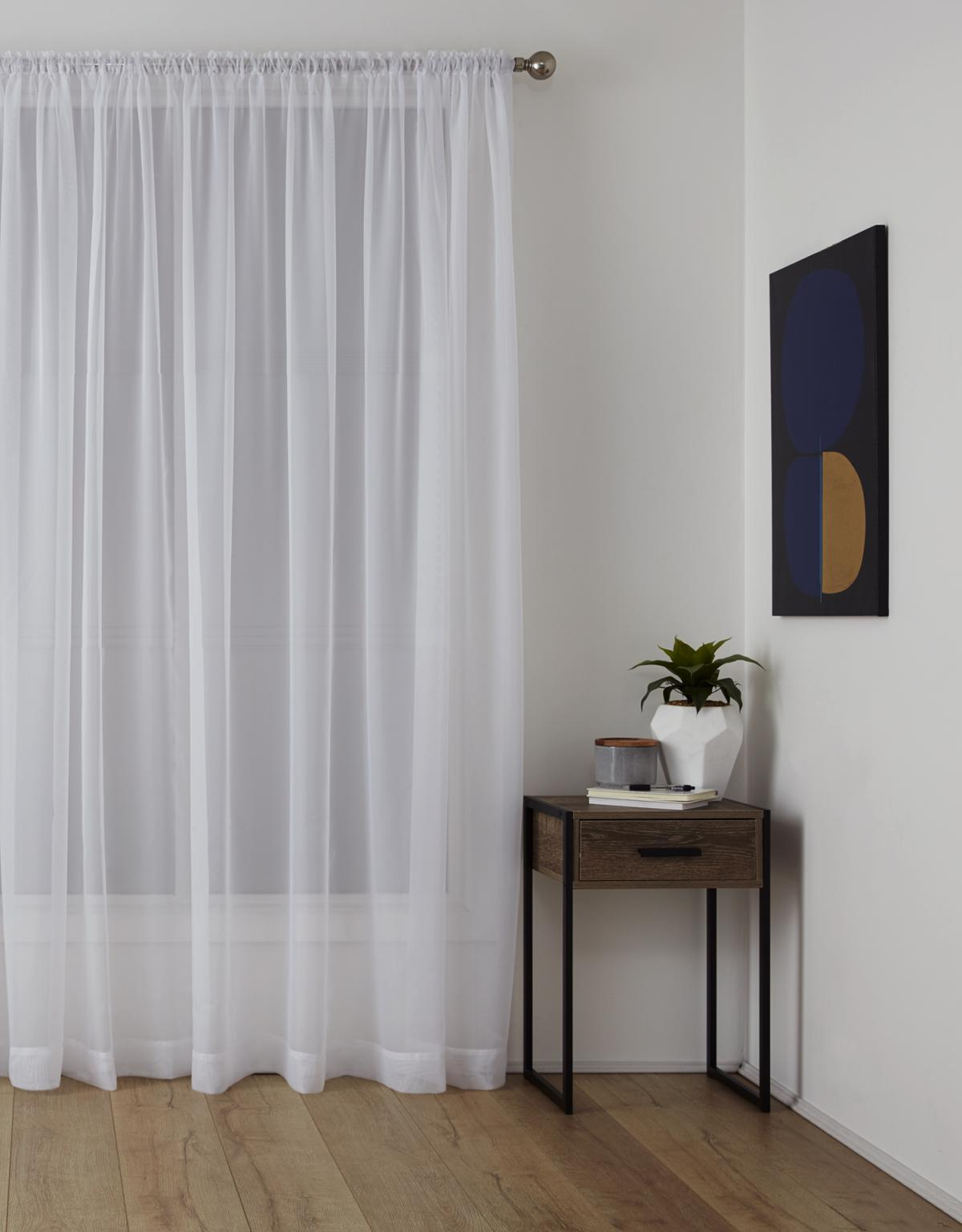 Sheer Rod Pocket Curtain Harmony White Smart Home Products